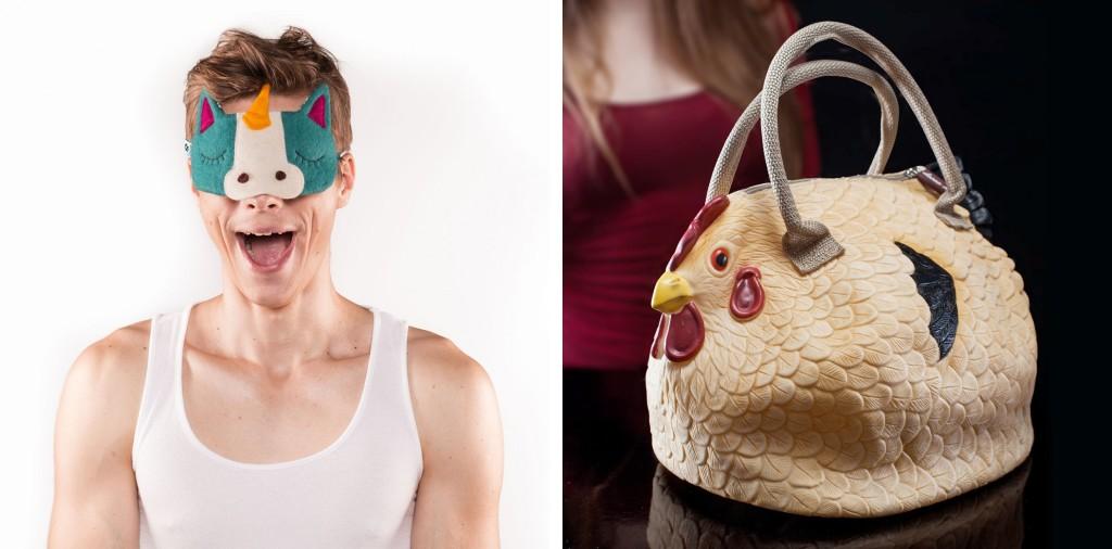 Tierische Schlafmasken & The Original Hühner Handtasche
